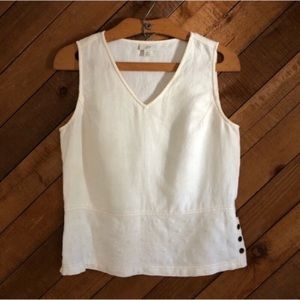 J.Jill ivory linen tank with embroidery size XS